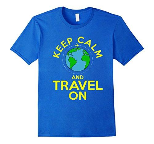 World Traveler Halloween Costume (Men's FUNNY KEEP CALM AND TRAVEL ON T-SHIRT World Map Gift Medium Royal Blue)