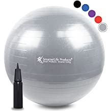 Exercise Ball for Yoga, Balance, Stability from SmarterLife - Fitness, Pilates, Birthing, Therapy, Office Ball Chair, Classroom Flexible Seating - Anti Burst, Non Slip + Workout Guide