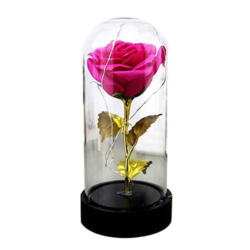 wsloftyGYd - Lámpara de vidrio con forma de rosa artificial, luz de noche, decoración para el hogar, regalo de rosa eterna,...