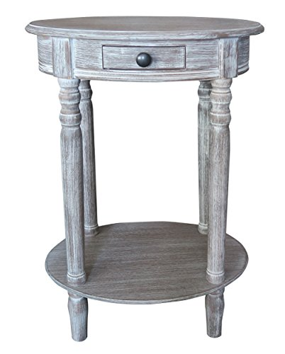 Urbanest Woodbury Oval Accent Table with Drawer, Winter Melody