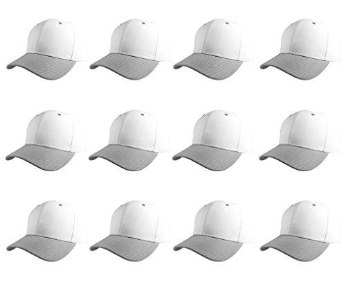 - Plain Blank Baseball Caps Adjustable Back Strap Wholesale LOT 12 Pc's (White Gray)