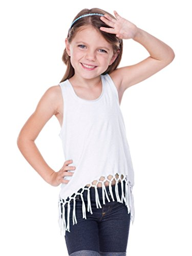 (Kavio! Little Girls 3-6X Sheer Jersey Scoop Neck Macrame Fringe Asymmetrical Tank White 5/6)