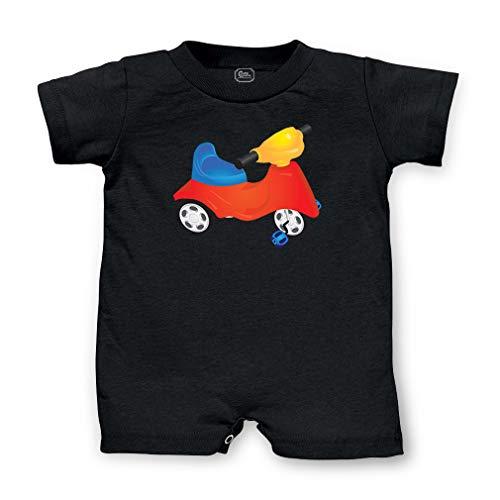 Personalized Custom Kid's Bike Cotton Short Sleeve Tapped Neck Boys-Girls Infant T-Romper Jersey Tee - Black, 12 Months
