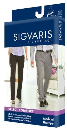 Sigvaris Select Comfort Knee High 30-40mmHg Unisex Open Toe, S4, Black