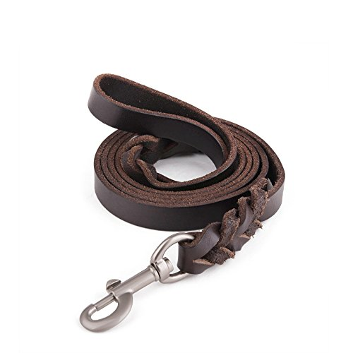 Lavien #1 Amazon Braided Leather Dog Leash for Large Dogs, Training Lead,Long By 3/4 Inch Wide,Free Bag included(6ft or 5.5ft Alternative)