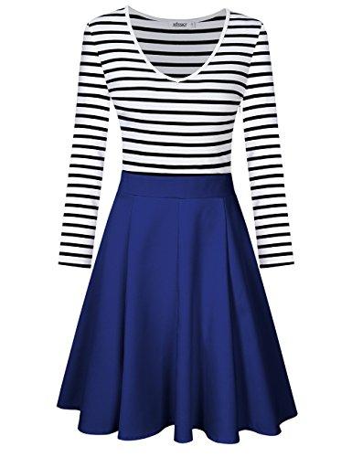 MISSKY Women's Striped Long Sleeve V Neck Swing Mini Cocktail Dress For Women (L, Dark Blue/Long Sleeve V Neck)