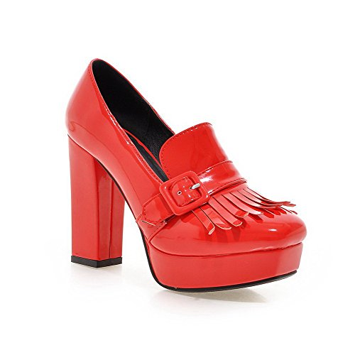 AllhqFashion Womens Patent Leather Solid Pull on Square Closed Toe High Heels Pumps-Shoes Red