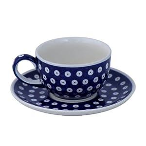 Boleslawiec Pottery Tasse à café et soucoupe – 0,2 L en céramique de Boleslawiec Motif 42