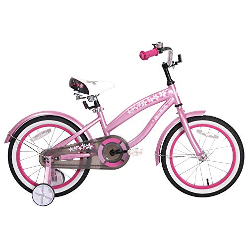 HILAND 16 Inch Kids Bike for 4 5 6 Years Girls, Girls Bicycle with Training Wheels, Children's Beach Cruiser Bike, Gift for Girls, Pink Kids Cycle