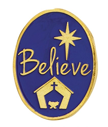 Nativity Pin - Believe Christmas Gold Plated Lapel Pin