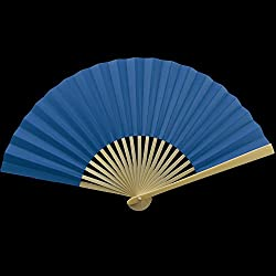 "Quasimoon 9"" Dark Blue Paper Hand Fans for Weddings, Premium Paper Stock (10 Pack) by PaperLanternStore"
