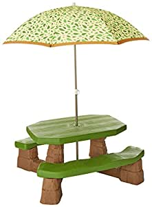 Amazon Com Step2 Naturally Playful Picnic Table With Umbrella Toys Amp Games