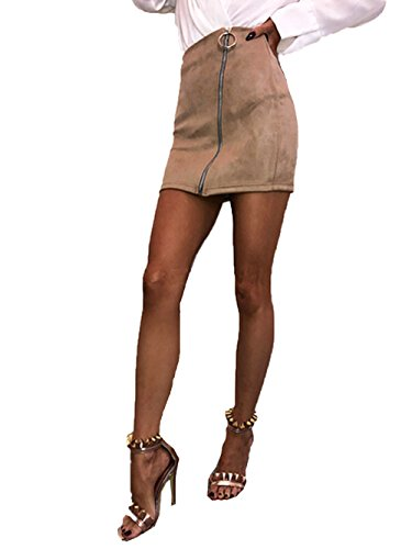 Studded Vintage Skirt (Bowant Fashion Women's Faux Suede Rings Zip High Waist Bodycon Pencil Skirt Mini Skirt (Khaki, M))