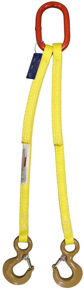 12,000 Lb 5 Length HSI Two Ply 2-Leg Oblong-to-Oblong Bridle Nylon Sling Vertical Capacity EE2-802 1 Trade Size Alloy Master Link 2 Web Width