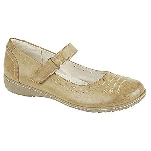 Klettverschluss Schuhe Jane Boulevard Hellbraun Damen mit Mary qww4Xx