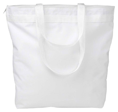 Liberty Bags Recycled Large Tote With Zipper (White) (One) (Bag Polyester Zipper Tote)