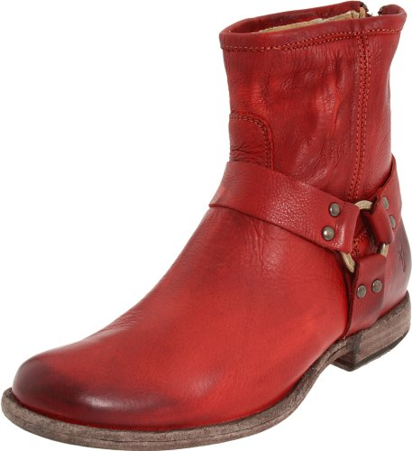 FRYE Women's Phillip Harness Ankle Boot, Burnt Red Soft Vintage Leather, 6 M US