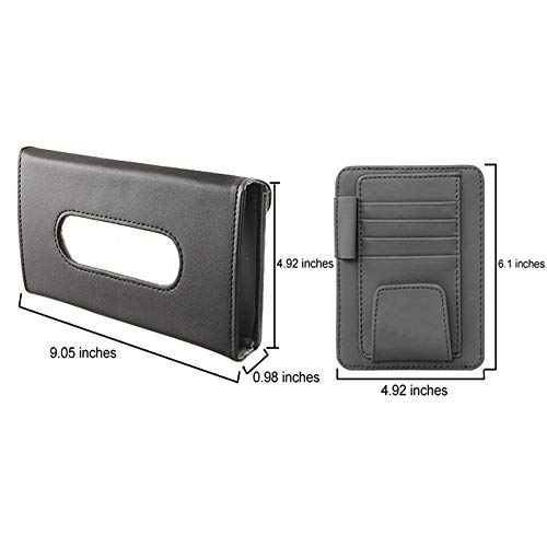 DAIFUQIIHUA Leather Made Car Visor Tissue Holder and Card Holder Combo A Pack of Pocket Organizer and Napkin Holder Suits Most Cars