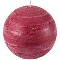 Nordic Candle - 4 Inch Ball Candle - Burgundy Red Rustic Sphere - Unscented