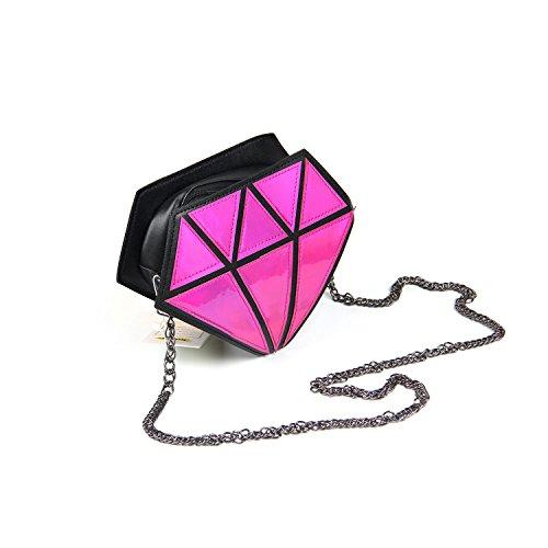 Chain Bag Shoulder Leather Laser Kuang PU Girls Women for Shape Evening Red Purse Diamond Rose 8xpwg