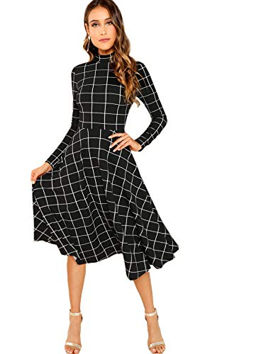 Floerns Women's High Neck Plaid Fit & Flare Midi Dress Black White L
