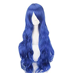 Yesui 32'' 80cm Women's Full Wig Synthetic Heat Resistant Wigs Long Curly Hair Harajuku Costume Wigs for Cosplay Party Blue