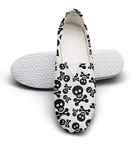Black White Skull and Crossbones Art Youth Classic Canvas Sneakers Flat Bottom Excellent Walking Walking Shoes