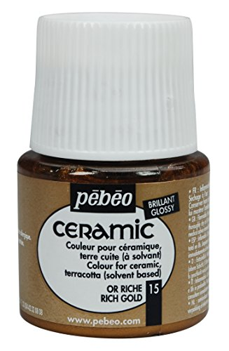 PEBEO 025-015 Ceramic, Enamel Effect Paint, 45 ml Bottle - Rich Gold