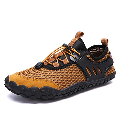 AFT AFFINEST Mens Quick Dry Water Shoes Outdoor Aqua Barefoot Sneakers for Beach(Yellow,44)
