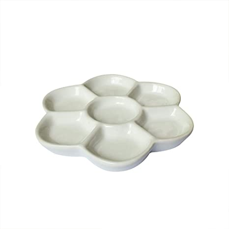 Yuauy 5.7 Diameter 7-Well Square Paint Palette Glazed Watercolor Painting Mixing Ceramic Porcelain Palette Oil Painting