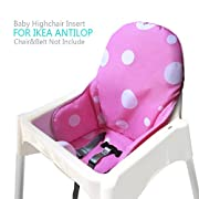 Ikea Antilop Highchair Seat Covers & Cushion by AT, Washable Foldable Baby Highchair Cover Ikea Childs Chair Insert Mat Cushion (Pink)