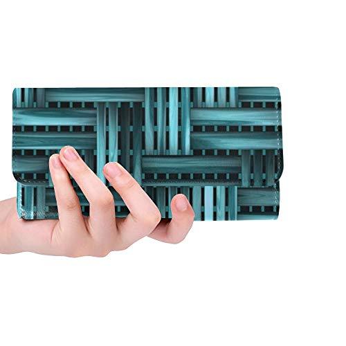 Unique Custom Wood Weaving Blue Basket Texture Women Trifold Wallet Long Purse Credit Card Holder Case Handbag