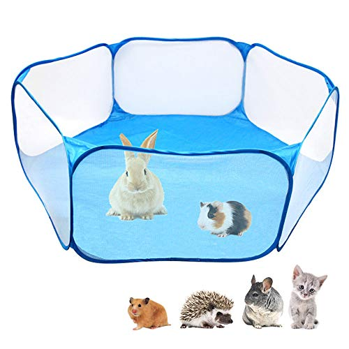(Amakunft Small Animals C&C Cage Tent, Breathable & Transparent Pet Playpen Pop Open Outdoor/Indoor Exercise Fence, Portable Yard Fence for Guinea Pig, Rabbits, Hamster, Chinchillas and Hedgehogs)