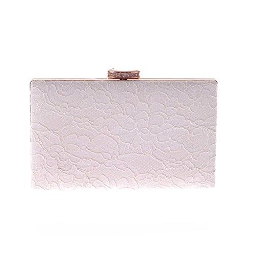 willtop Marco de metal Cierre magnético Drop-in de flores de encaje cadena embrague bolsa, blanco (Blanco) - UK-B3054-WHITE blanco
