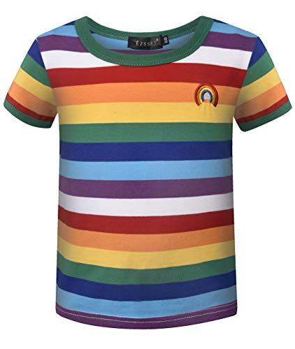 Ezsskj Kids Boys Children's Toddler Rainbow Shirt