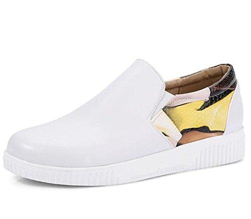 Easemax, Donna, Alla Moda, Cuciture Stampate, Punta Rotonda, Slip Slip On Sneakers Con Tacco Basso Bianche