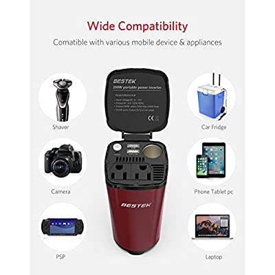 BESTEK 200W Car Power Inverter with 2 AC Outlets and 4.5A Dual USB Charging Ports Car Adapter with Car Cigarette Lighter Socket … (Red): Electronics