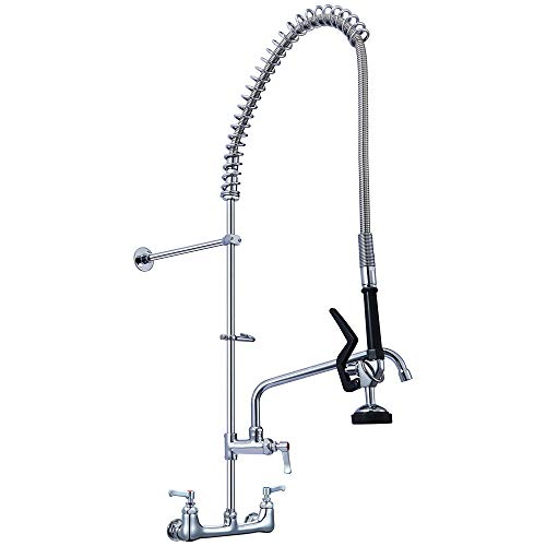 (SEAAN Commercial Sink Faucet Wall Mount Pre-rinse Faucet 2 Handle Pulldown Kitchen Faucet with Sprayer- 36