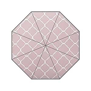 Patrón de Chevron, color rosa y blanco patrón de Quatrefoil Monogram 3plegable paraguas lluvia sol Anti UV sombrilla