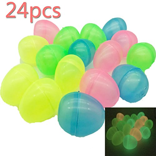 Toy plastic, Brightly colored eggs decorated, various colors (24 pieces) and durable plastic eggs, Easter, children's eggs, and candy containers