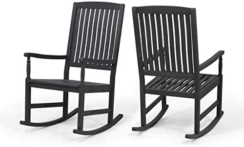 Great Deal Furniture Penny Outdoor Acacia Wood Rocking Chairs Set of 2 , Dark Gray
