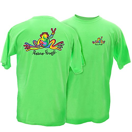 Peace Frogs Adult Retro Frog Short Sleeve T-Shirt (Hot Pink, XXX-Large)