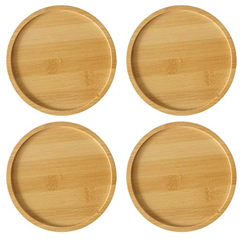 JINMURY 4 Pack Round Bamboo Plant Saucer Set- 6.1 Inch Bamboo Trays for Succulent Plants Pot Round Succulent Planter with Drainage Hole