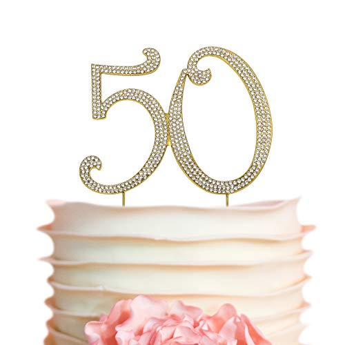 50 GOLD Cake Topper | Premium Sparkly Crystal Rhinestones | 50th Birthday or Anniversary Party Decoration Ideas | Perfect Keepsake (50 Gold)