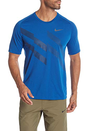 Nike Men's Dri-Fit Running Stripe Graphic Top-Blue Jay-XL
