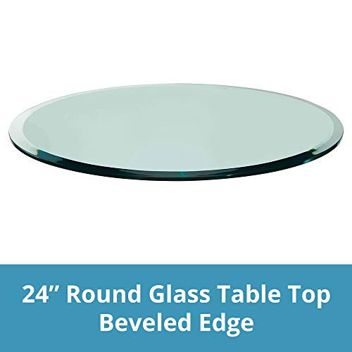 TroySys Beveled Polished Tempered Glass Table Top, 24
