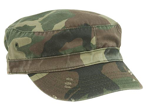 MG Distressed Washed Cotton Cadet Army Cap (Camo)...