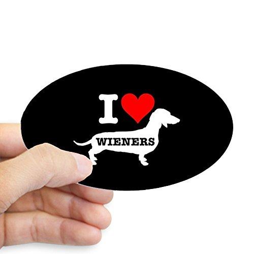 CafePress I Heart Wieners Oval Bumper Sticker, Euro Oval Car Decal