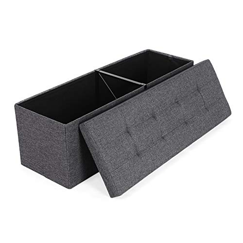 SONGMICS Folding Storage Ottoman Bench Storage Chest Foot Rest Stool with Metal Support, Holds up to 660lb, Dark Gray ULSF77K (Bed Storage End)
