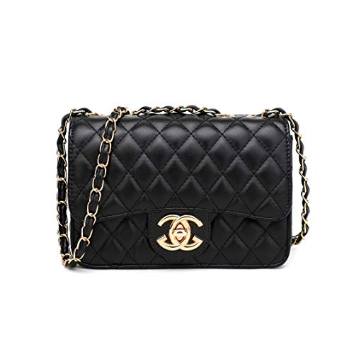 (Mirris Classic Lingge Crossbody Shoulder Bag for Women Black Quilted Purse With Metal Chain Strap Chain bags)